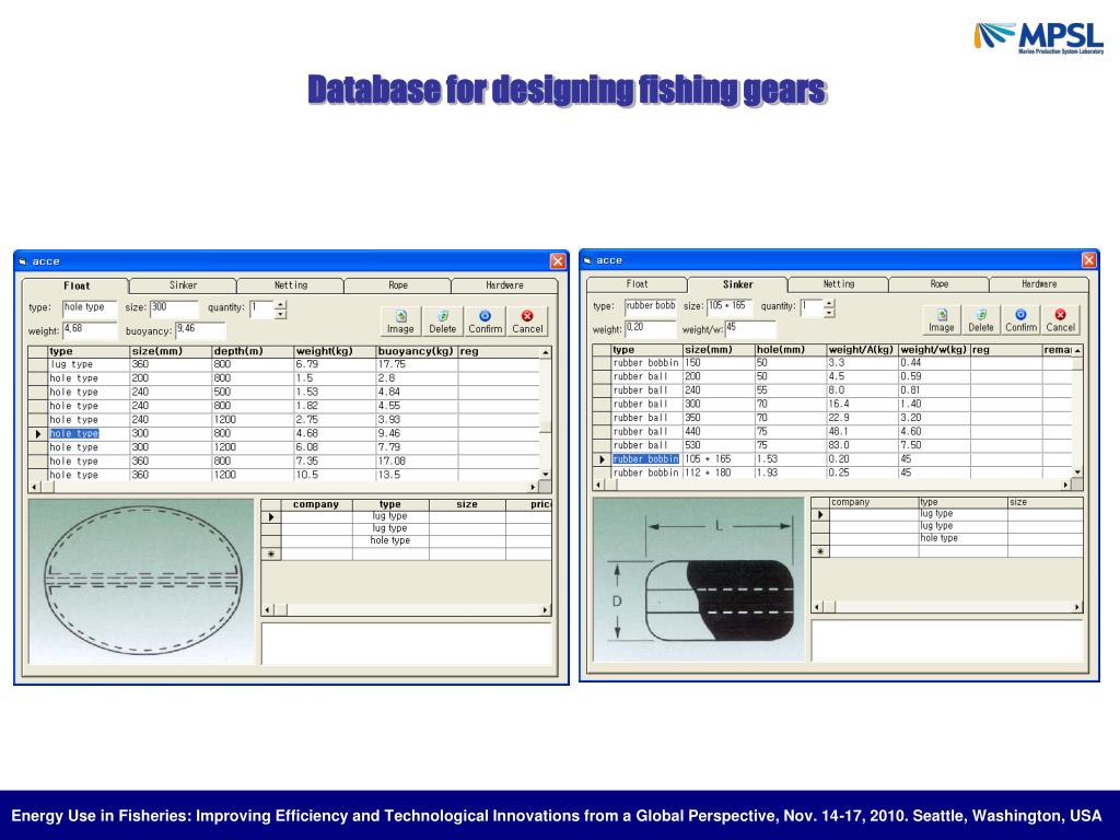 Database for designing fishing gears