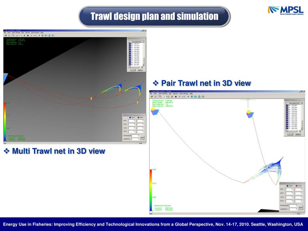 Trawl design plan and simulation
