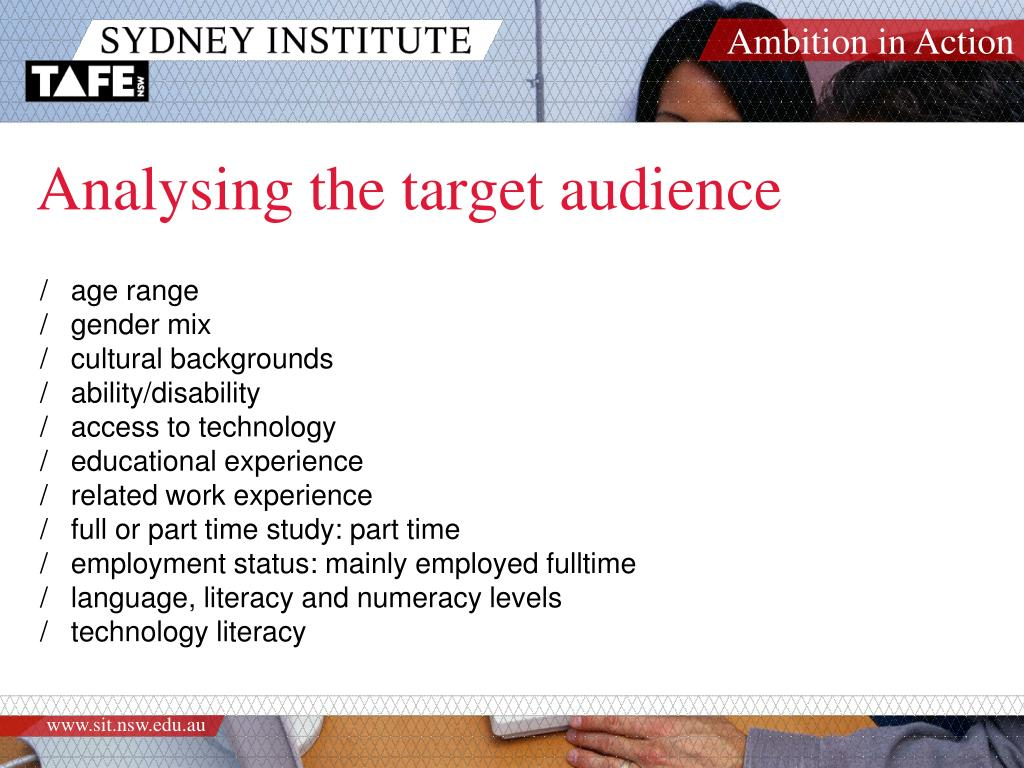 Analysing the target audience