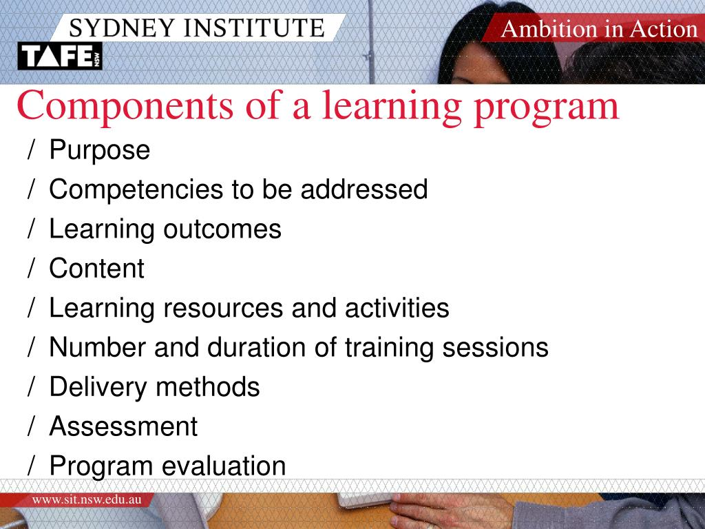 Components of a learning program