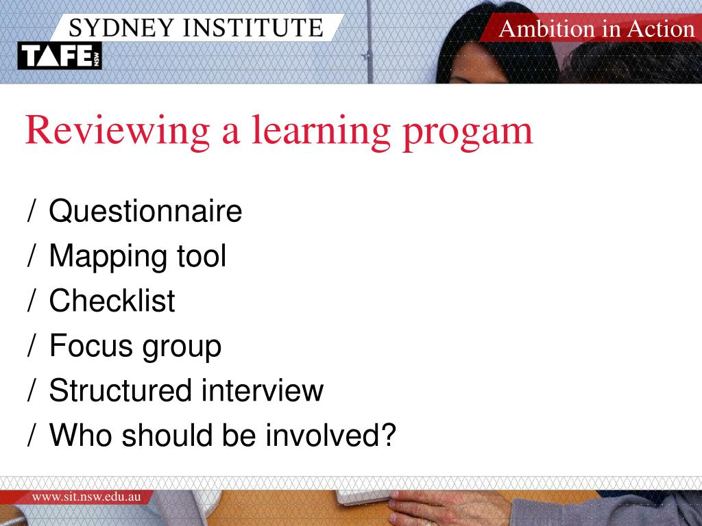 Reviewing a learning progam
