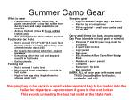 summer camp gear