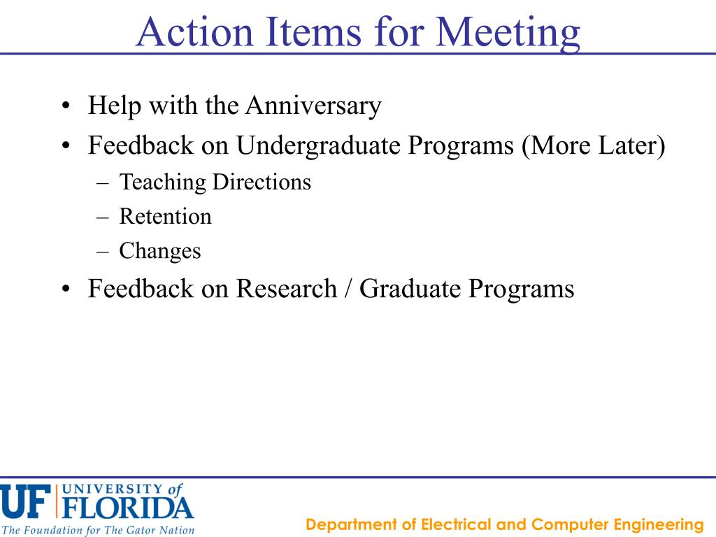 Action Items for Meeting
