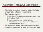 automatic thesaurus generation