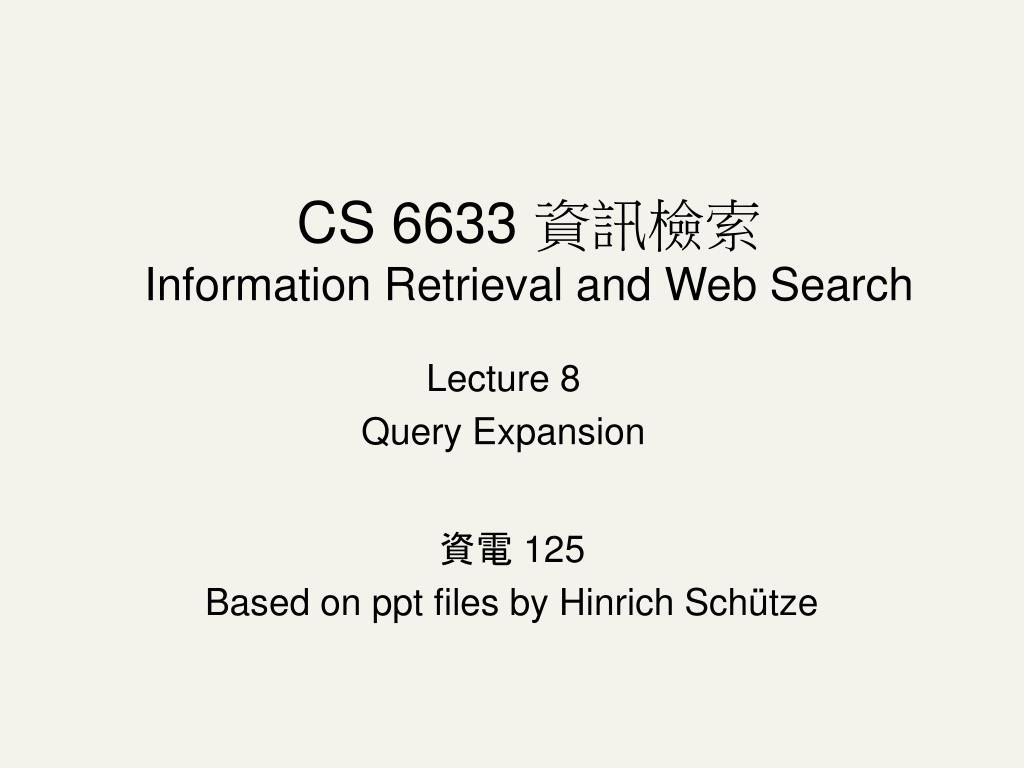 lecture 8 query expansion l.