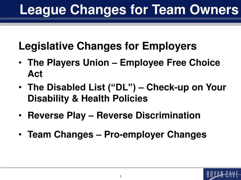 League Changes for Team Owners