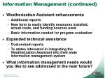 information management continued