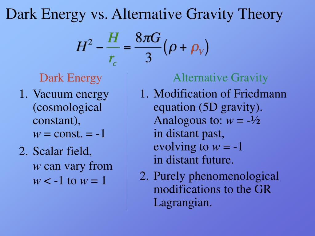 Dark Energy vs. Alternative Gravity Theory