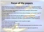 focus of the papers