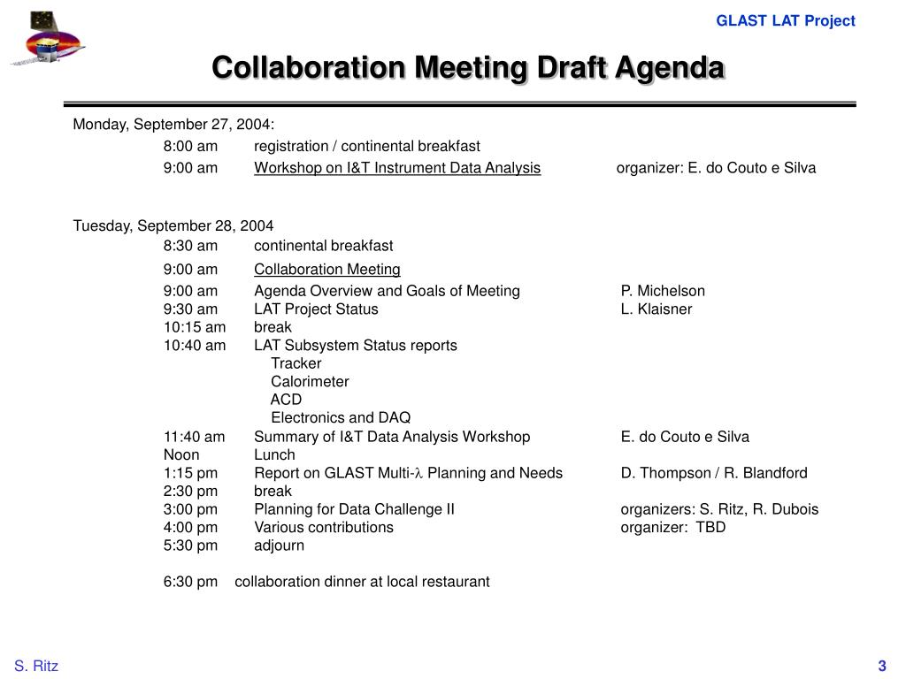 Collaboration Meeting Draft Agenda