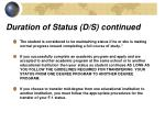 duration of status d s continued