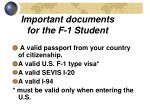 important documents for the f 1 student