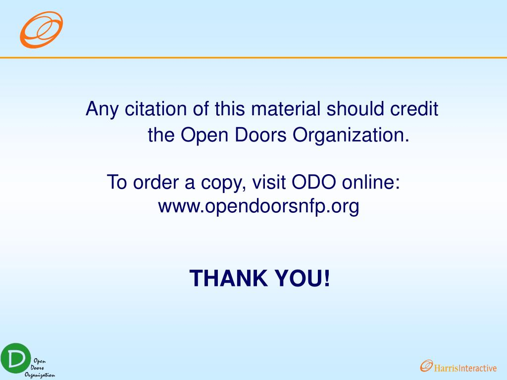 Any citation of this material should credit the Open Doors Organization.