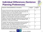 individual differences sentence planning preferences