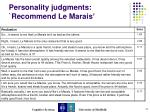 personality judgments recommend le marais