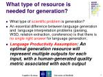 what type of resource is needed for generation