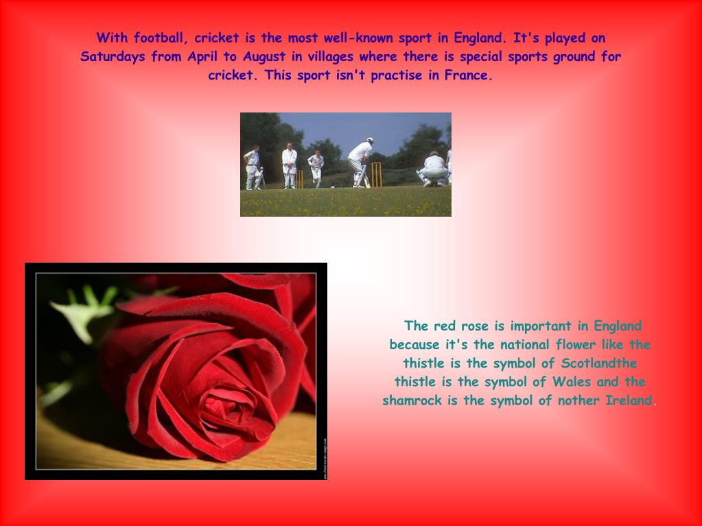 With football, cricket is the most well-known sport in England. It's played on Saturdays from April to August in villages where there is special sports ground for cricket. This sport isn't practise in France.