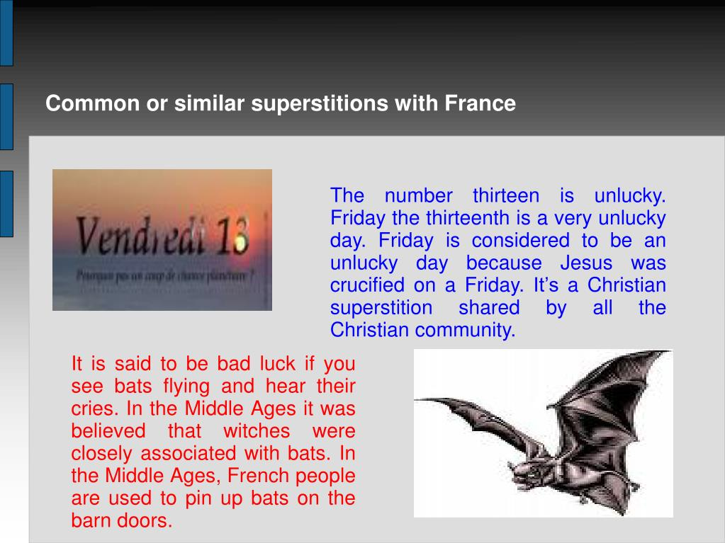 Common or similar superstitions with France
