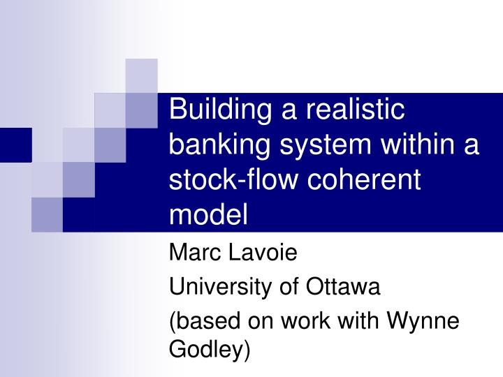building a realistic banking system within a stock flow coherent model n.