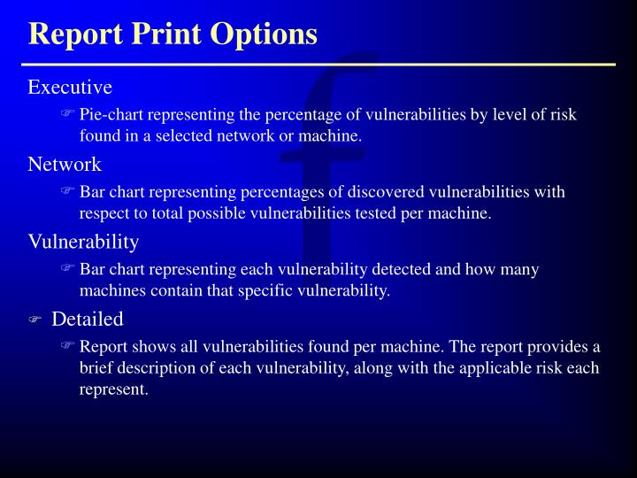 Report Print Options