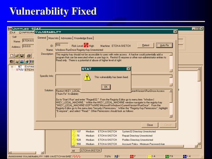Vulnerability Fixed