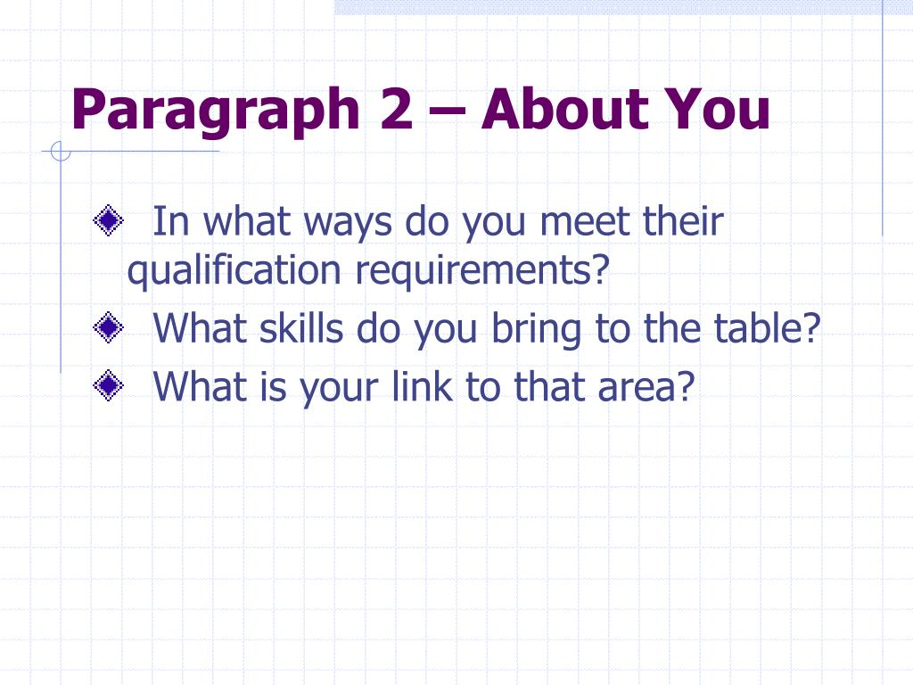 Paragraph 2 – About You