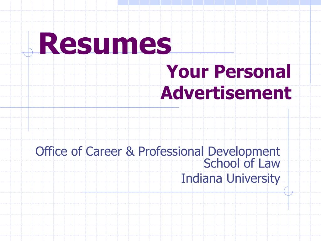 resumes your personal advertisement l.
