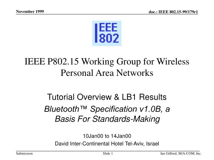 ieee p802 15 working group for wireless personal area networks n.