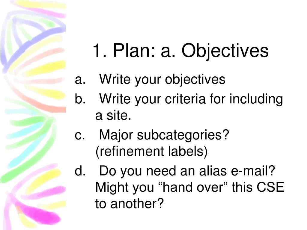 1. Plan: a. Objectives