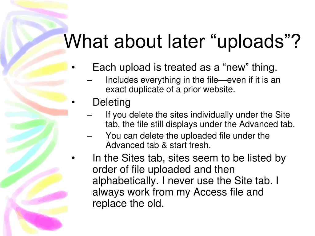 """What about later """"uploads""""?"""