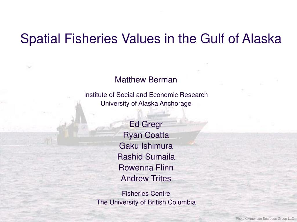 spatial fisheries values in the gulf of alaska l.