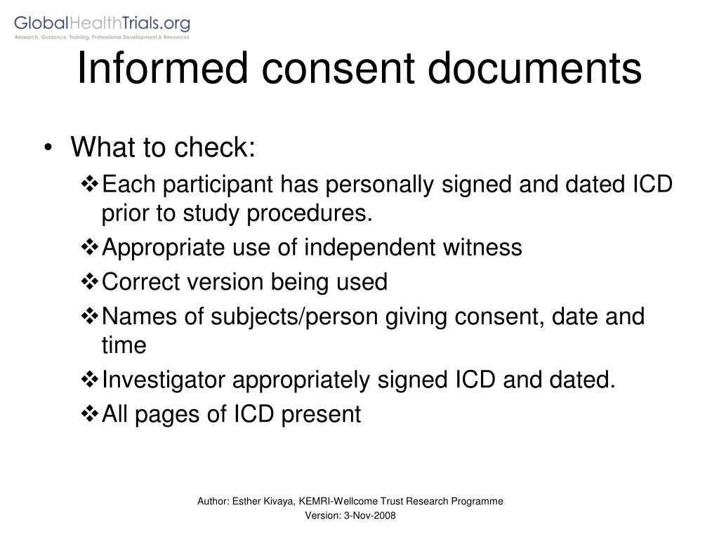 Informed consent documents