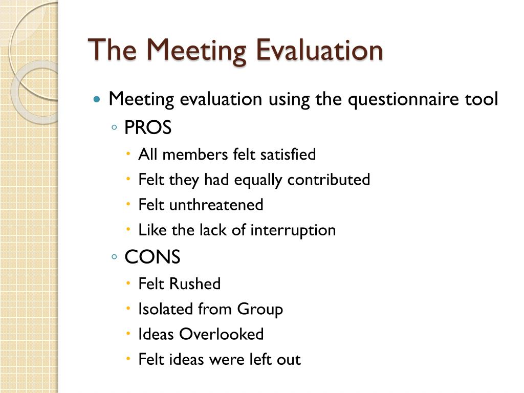 The Meeting Evaluation
