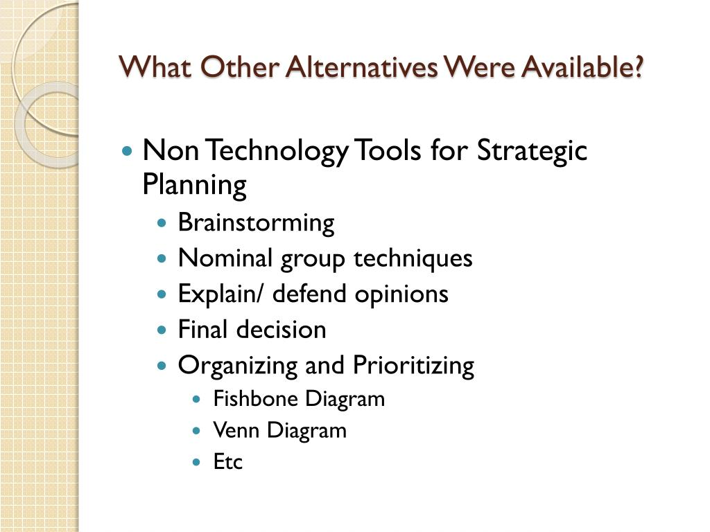 What Other Alternatives Were Available?
