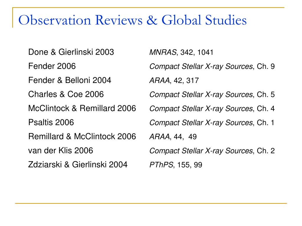 Observation Reviews & Global Studies