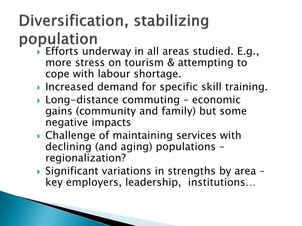 Diversification, stabilizing population
