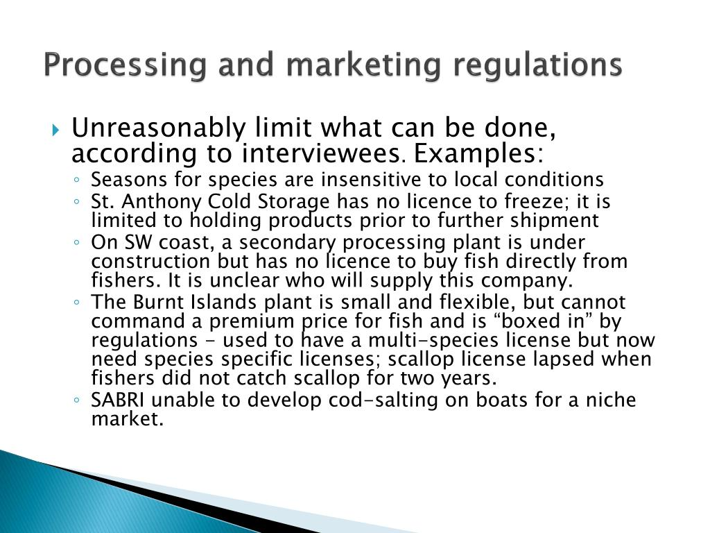 Processing and marketing regulations
