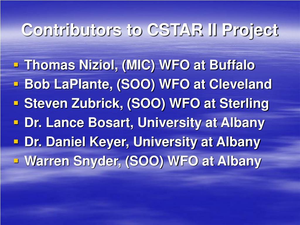 Contributors to CSTAR II Project