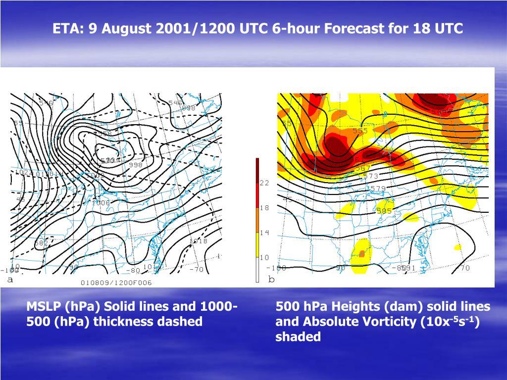 ETA: 9 August 2001/1200 UTC 6-hour Forecast for 18 UTC
