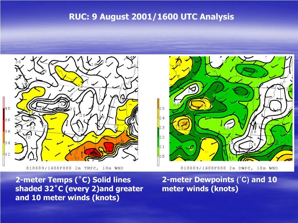 RUC: 9 August 2001/1600 UTC Analysis