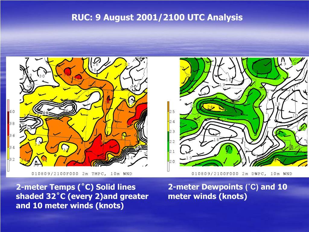 RUC: 9 August 2001/2100 UTC Analysis