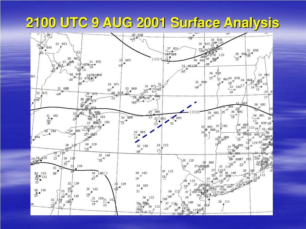 2100 UTC 9 AUG 2001 Surface Analysis