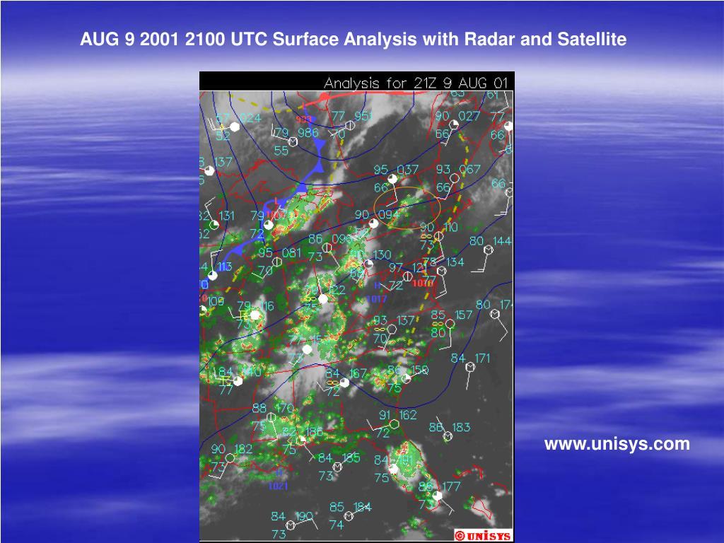 AUG 9 2001 2100 UTC Surface Analysis with Radar and Satellite
