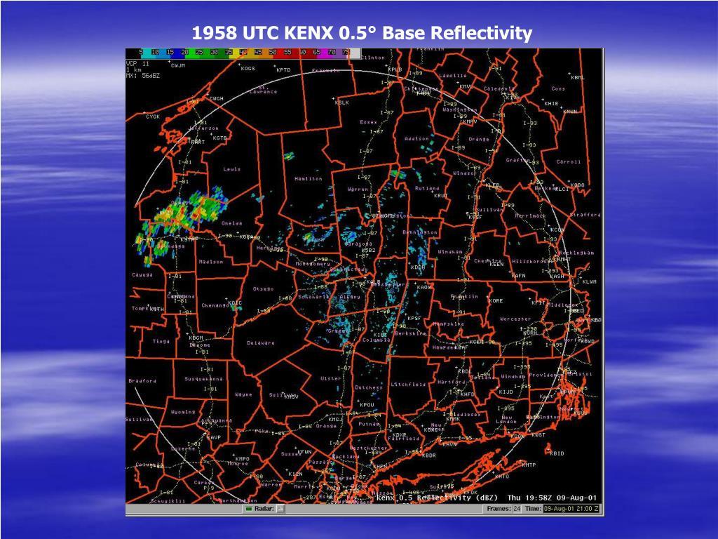 1958 UTC KENX 0.5° Base Reflectivity