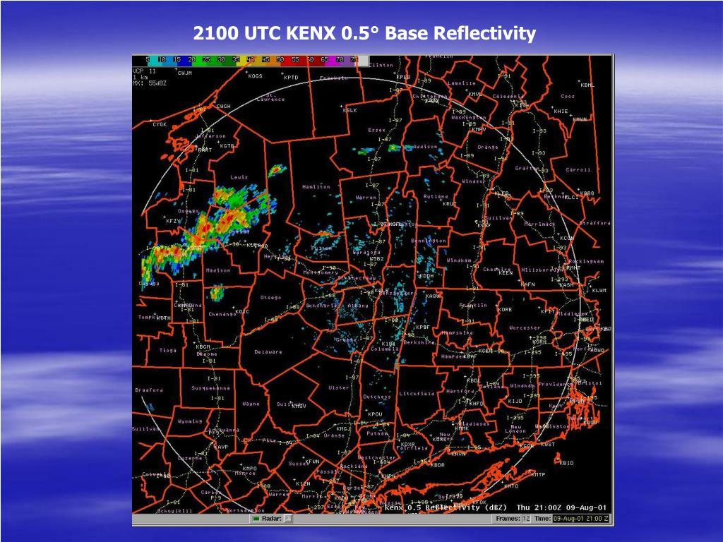 2100 UTC KENX 0.5° Base Reflectivity