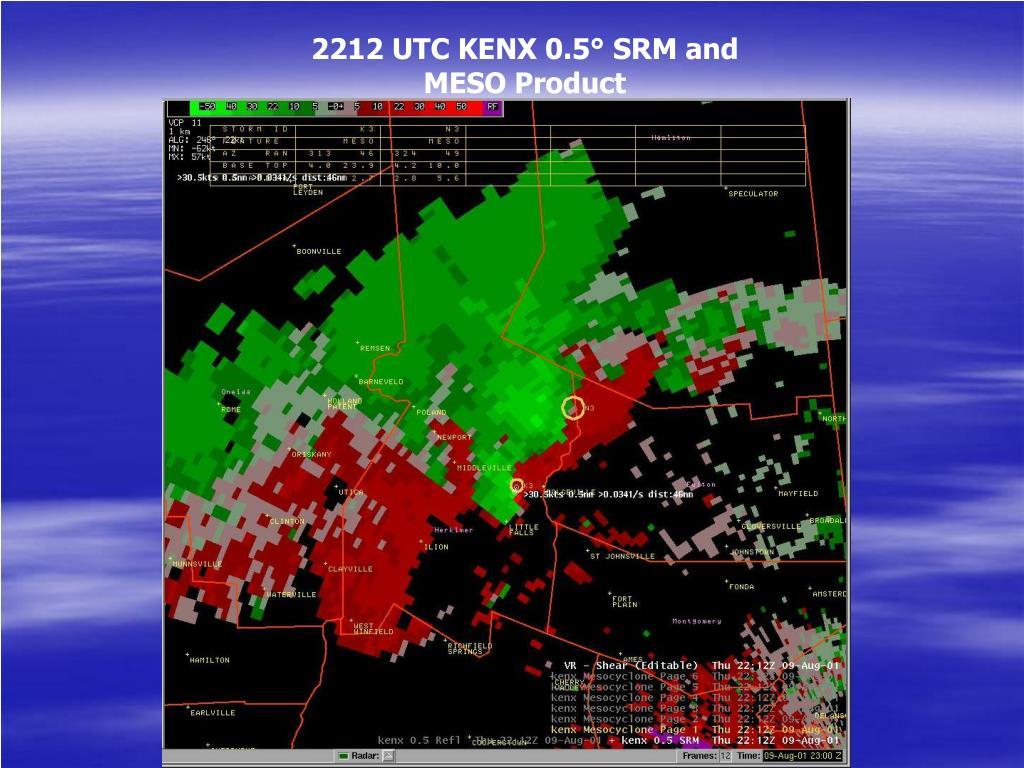 2212 UTC KENX 0.5° SRM and MESO Product