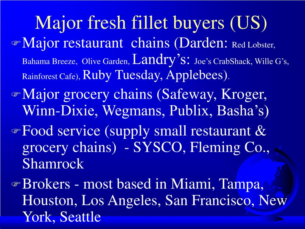 Major fresh fillet buyers (US)
