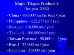major tilapia producers for year 2002