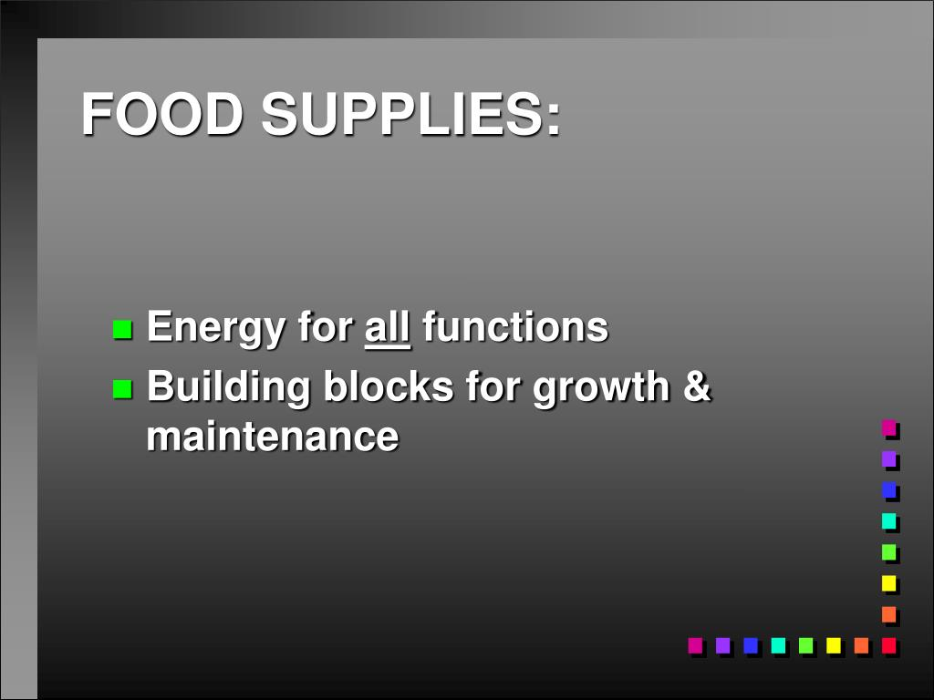 FOOD SUPPLIES:
