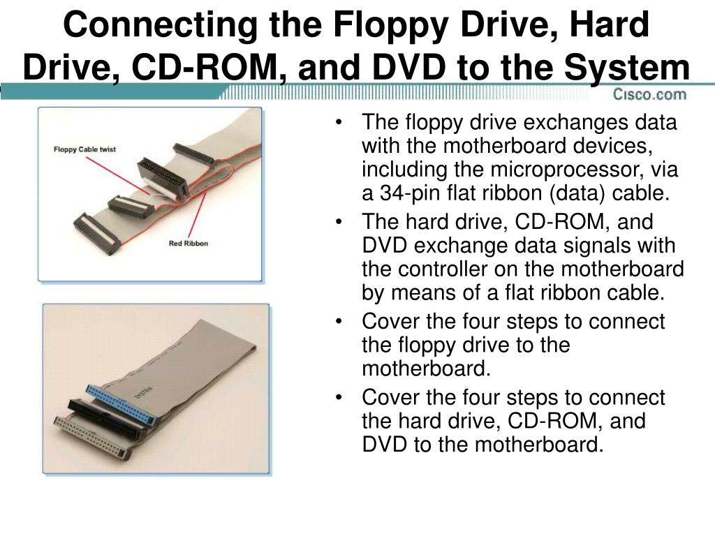 Connecting the Floppy Drive, Hard Drive, CD-ROM, and DVD to the System